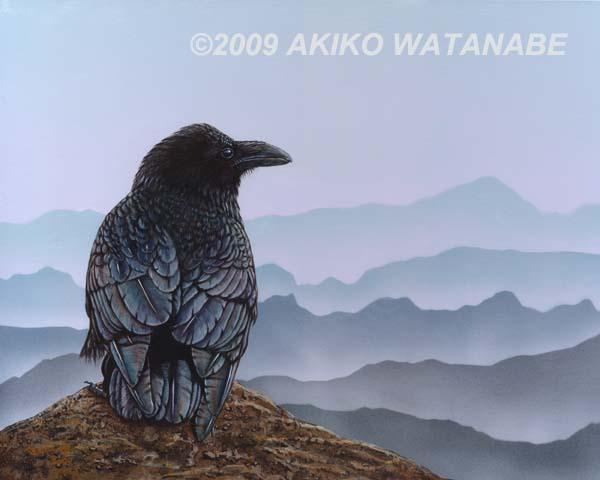 Total Lunar Eclipse Crow Raven Bird Akiko Watanabe