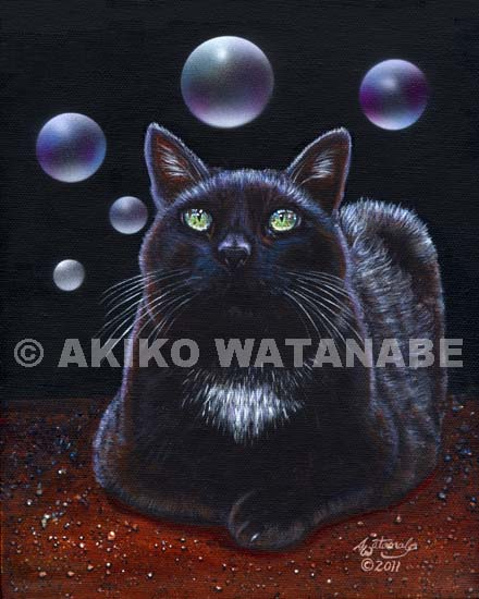 Bubbles (Black Cat with Bubbles)