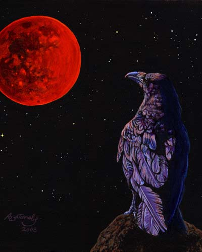 Total Lunar Eclipse (crow raven bird)