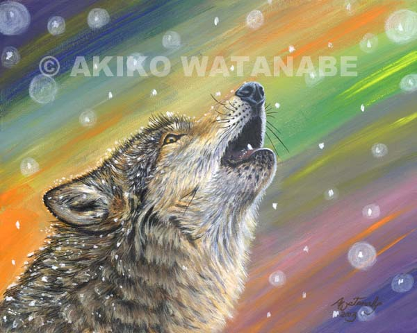 Snowbound (wolf painting print)