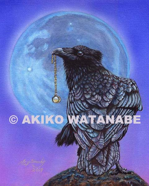Treasure Seeker #20 (8x10) (crow raven bird painting)