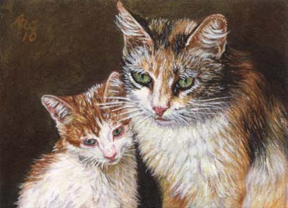 Calico #5 (ACEO print of Calico Cat and Kitten)