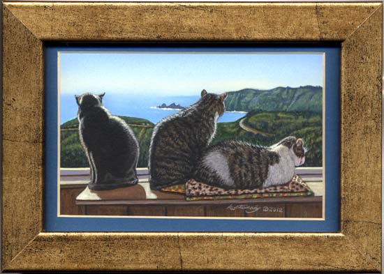 Best Seats (gray white tabby cat miniature painting)