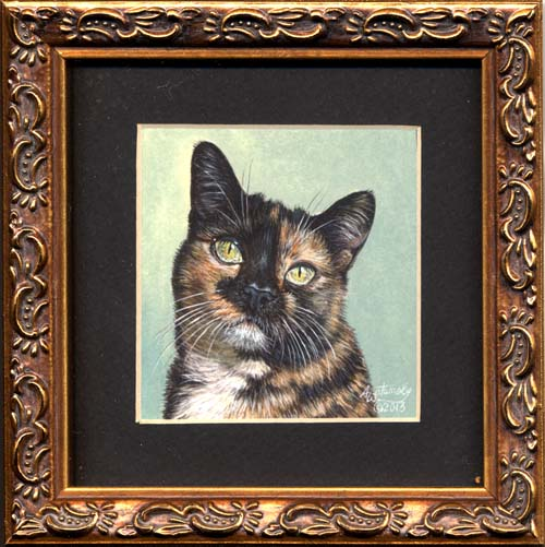 Cali #2 (calico cat miniature painting)