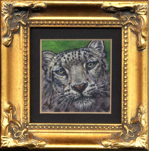Face to Face (snow leopard miniature painting)