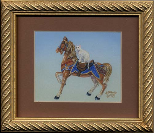 Horse Rider (white cat horse miniature painting)