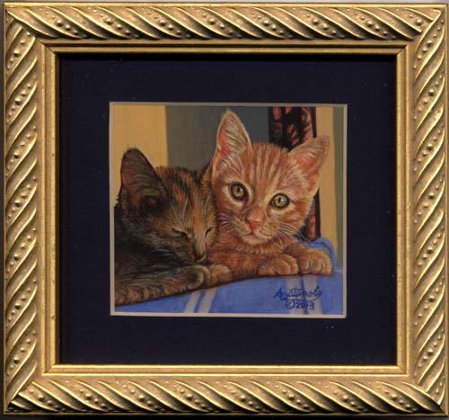 Late Afternoon (calico tabby kitten miniature painting)