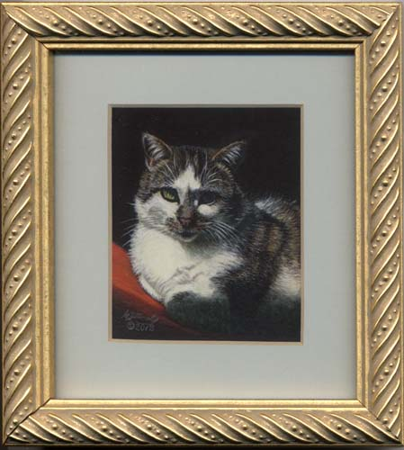 Lily (gray white tabby cat miniature painting)